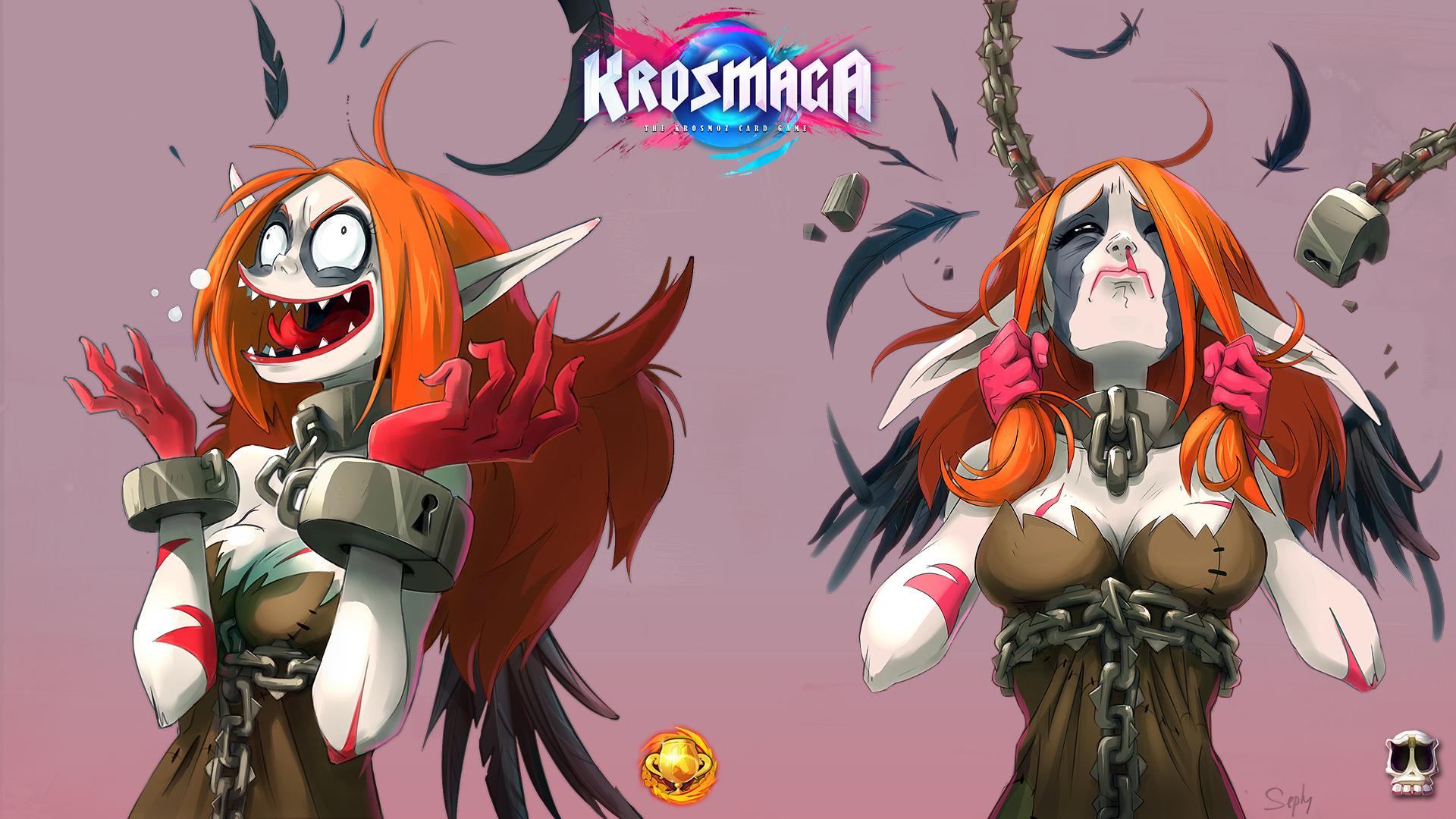 Krosmaga - God illustrations: Sacrier Defeat & Victory.